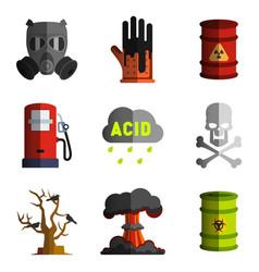 Set bad ecology icon image objects vector
