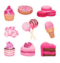 Set pink sweets on a white vector