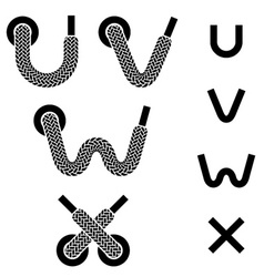 Shoelace alphabet lower case letters u v w x vector
