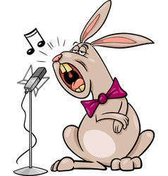 Singing rabbit cartoon vector