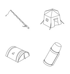 Spinning for fishing tent thermostent set vector
