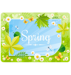 Spring banner border cute forest poster green vector