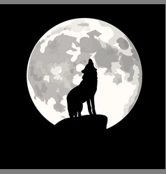 Square of wolf howling at moon vector