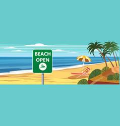 Summer beach banner open seascape ocean shore vector