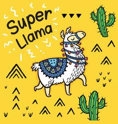 super llama cute cartoon llama card vector image