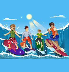 surfers on beach vector image