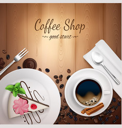Top coffee shop background vector