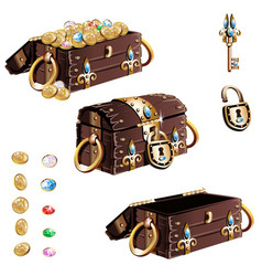 Treasure chest with gold decorated vector