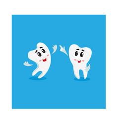 two funny tooth characters looking pointing up vector image