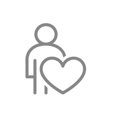 user profile with heart line icon charity vector image