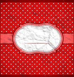 Vintage crumpled polka dot frame vector image