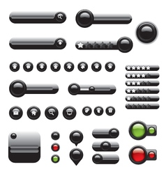 Web elements set black buttons vector image