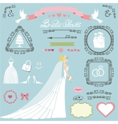 Wedding bridal shower decor setBrideswirlsicons vector image