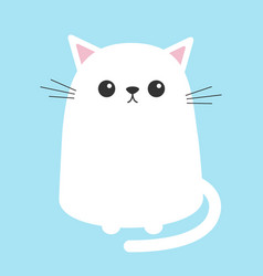 White cat sitting kitten cute cartoon kitty vector