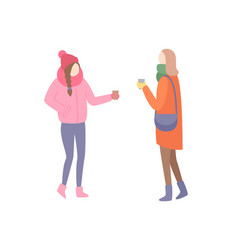 Woman friends talking discussing problems street vector