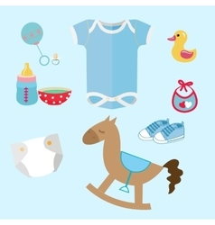 baby stuff and toys icon set collection romper vector image vector image