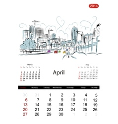 Calendar 2014 april Streets of the city sketch for vector image vector image