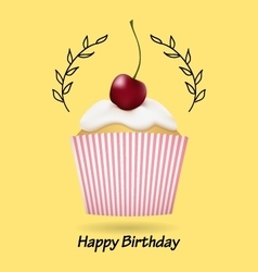 Happy Birthday greeting card with cute cupcake vector image