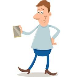 man with smart phone cartoon vector image