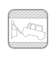 Silhouette button road sign square with tow truck vector