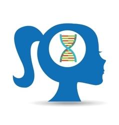 silhouette head girl student laboratory vector image