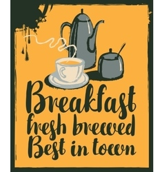 breakfast with teapot and cup of tea vector image vector image