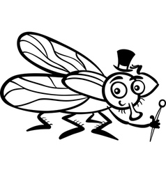 housefly cartoon for coloring book vector image vector image