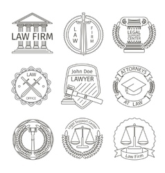 Juridical and legal logo elements in line style vector image