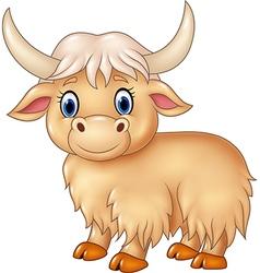 Cartoon cute yak isolated on white background vector image