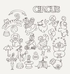 circus cartoon icons collection with chapiteau vector image