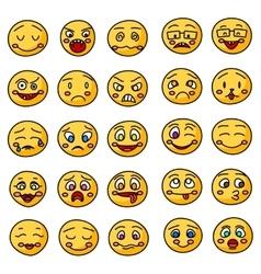 Emoji or emoticons hand drawn icons vector image vector image
