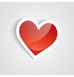red heart on the white background vector image vector image