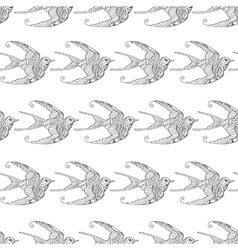 Seamless pattern with ornamental swallow birds vector image vector image
