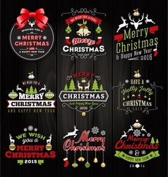 Christmas decoration typography tag and label vector image