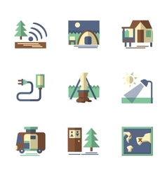 Forest tourism flat icons vector image vector image