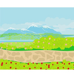landscape Stone path in the mountains vector image