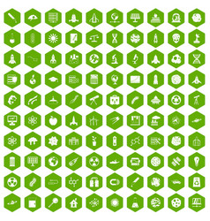 100 space icons hexagon green vector