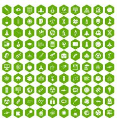 100 space icons hexagon green vector image
