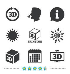 3d technology icons printer rotation arrow vector