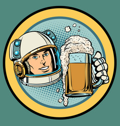 Astronaut with a mug of beer vector
