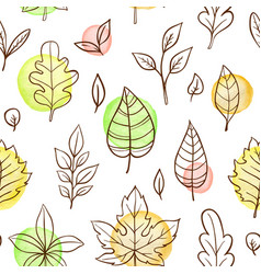 autumn seamless pattern with falling leaves vector image