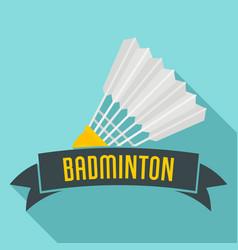 Badminton emblem logo flat style vector