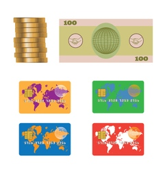 Banknote Coins Credit plastic bank card vector image