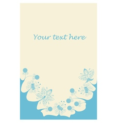 Blue flowers bottom frame vector
