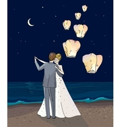 Bride and groom Newlyweds dancing couple in a vector