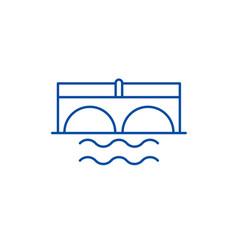 bridge over river line icon concept bridge over vector image