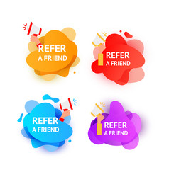 Business refer friend icon set referral program vector