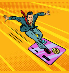 businessman and credit card snowboarding or vector image