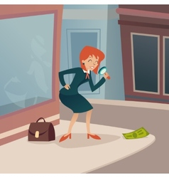 Businesswoman Character with Magnifying Glass and vector image