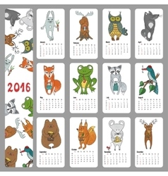 Calendar 2016wild animals woodland doodles vector